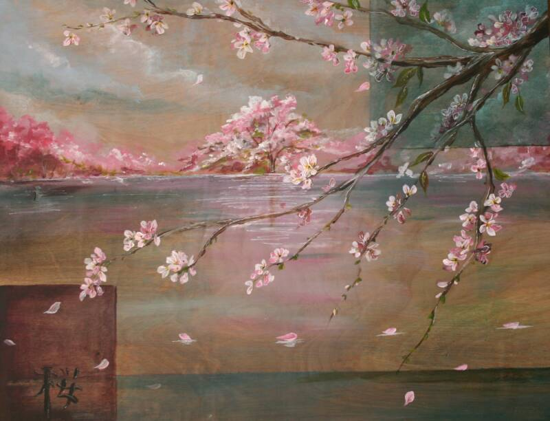 falling cherry blossoms iv