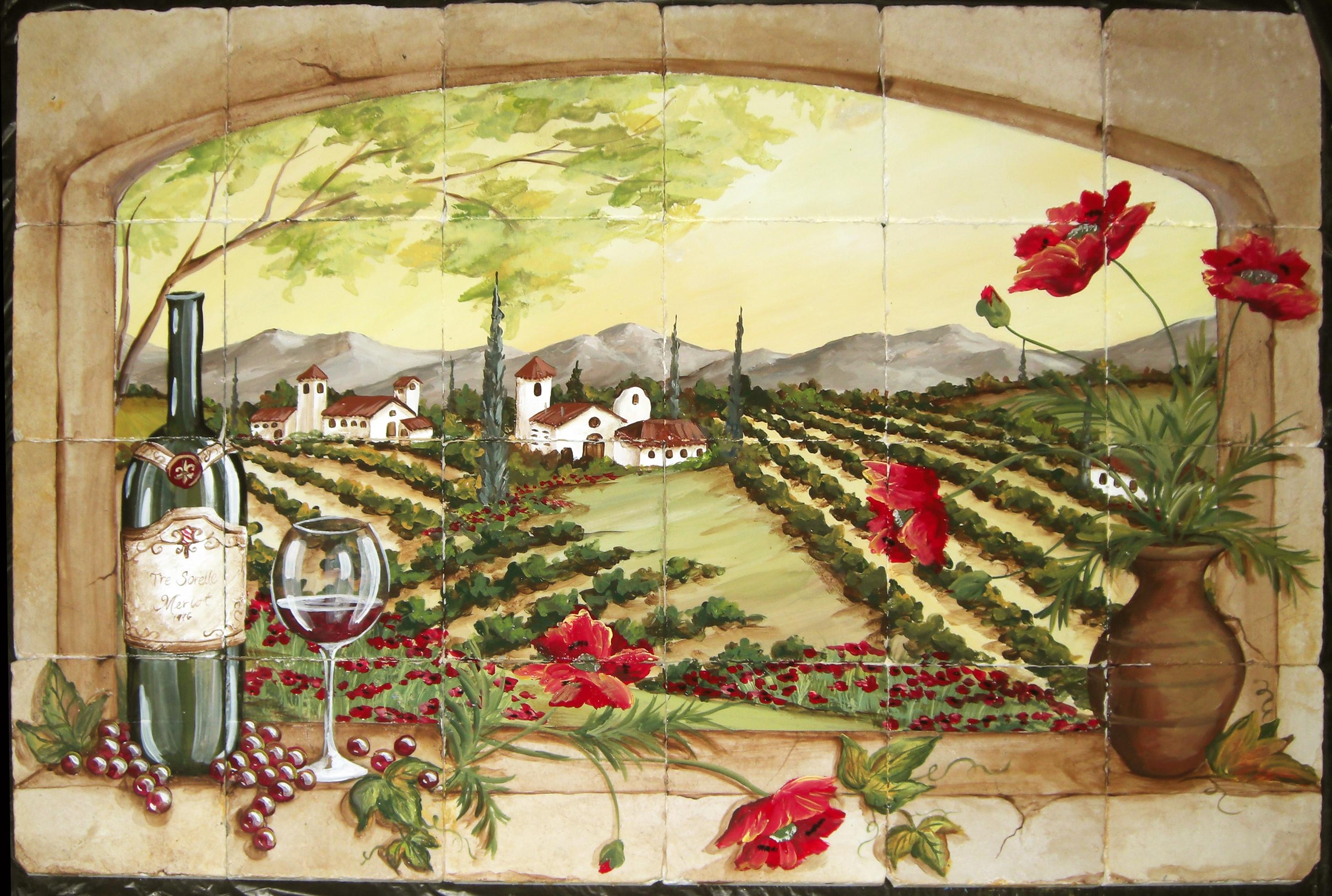 - Tuscan Vineyard Tile Murals