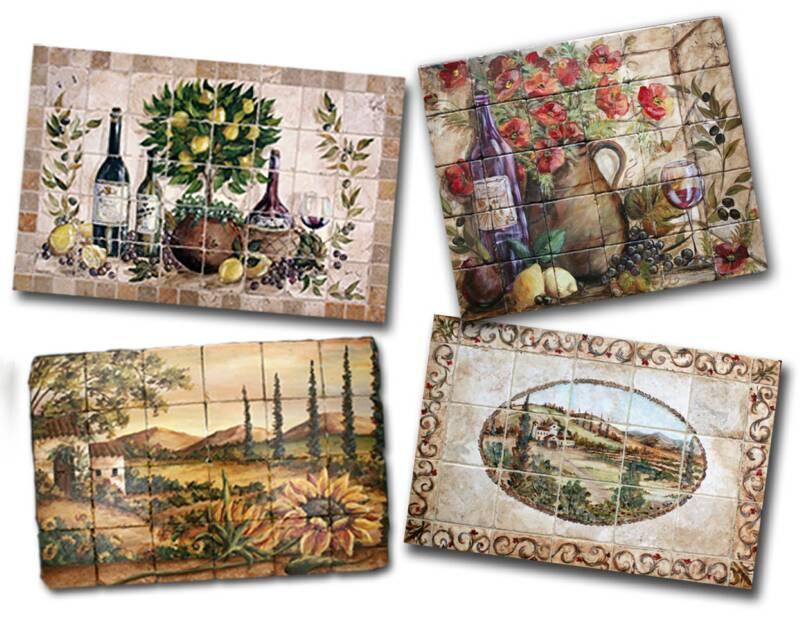 Decorative Tiles For Bathroom Backsplash : Tre sorelle hand painted tile murals and decorative tiles